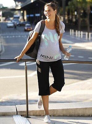Maternity Slogan Outfit: Me & Mini Me Tee & 3/4 Length Pants Set