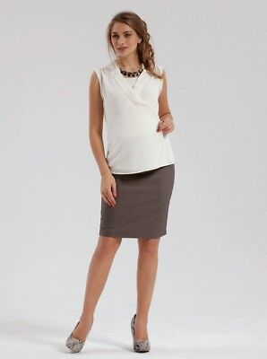 Maternity Skirt in Classic Straight Cut - Taupe #3045