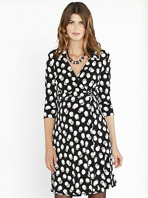 Maternity Jersey Dress with Easy Nursing Opening - Black Cream Dots