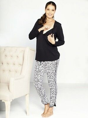 Maternity Nursing Sleep Wear PJ Set - Black Dots Hearts