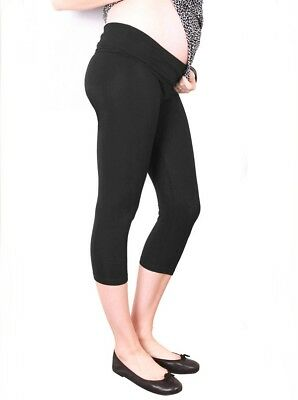 High Waist Adjustable Band 3/4 Length Capri Legging - Black