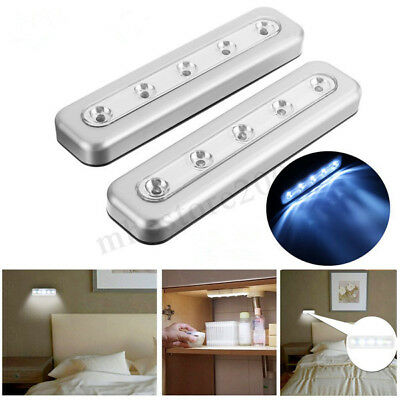 Wireless 5 LED Tap Touch Battery Closet Light Kitchen Under Cabinet Counter Lamp