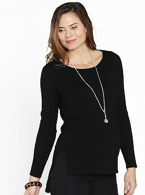 Maternity Lightweight Knitted Wool Top - Midnight Black
