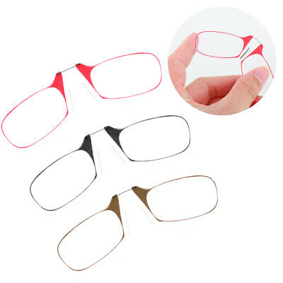 Portable Mini Nose Clip Reading Glasses with Case 1.5 2.0 2.5 Black Clear Wallet