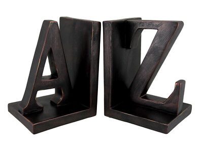 Zeckos Pair of Distressed Bronze Finish `A to Z` Bookends