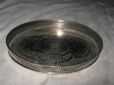 A Vintage Oval pierced Sided Galleried Cavalier E.P.N.S. Etched Base Tray