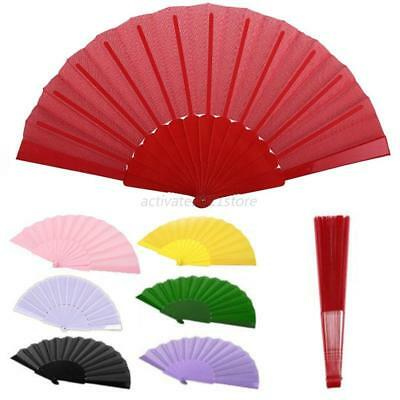Chinese Plain Hand Held Fabric Folding Fan Summer Pocket Fan Party Wedding Gift