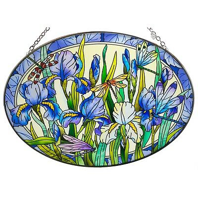 "Iris With Dragonflies Suncatcher Hand Painted Glass By AMIA Studios 8.75"" x 6.5"""