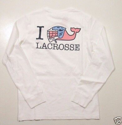 Vineyard Vines Boys L/S White Cap I Whale Lacrosse Graphic Pocket T-Shirt