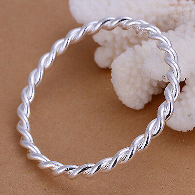 Classic  925 Sterling Silver Stamped Twist Round Hoop Bangle Bracelet BN-A220