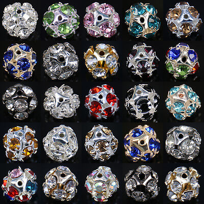 17Colors 10/50/100PCS Crystal Rhinestone Loose Beads Charm Jewelry Making 8mm