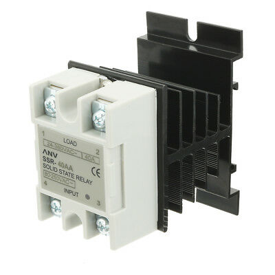 SSR-40AA AC 80-250V to 24V-380V Solid State Relay + Heat Sink + Thermal Compound