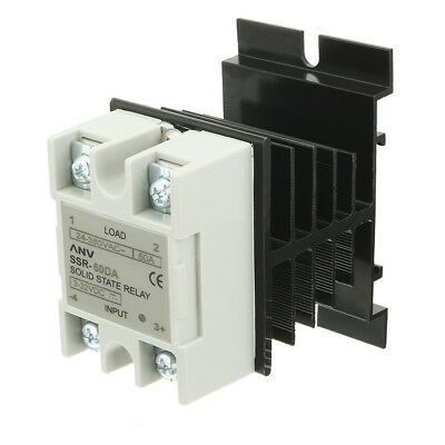 SSR-60DA 60A DC3-32V/AC24V-380V Solid State Relay + Heat Sink + Thermal Compound