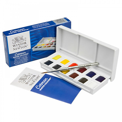 Winsor and Newton Cotman Watercolours Sketchers Pocket Box -12 Half Pans & Brush