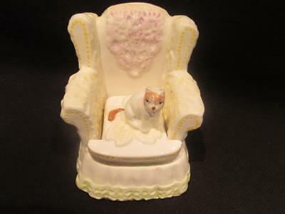 Cat on an Armchair Mid-Century Figurine with Trinket Compartment