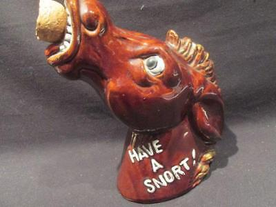 Have a Snort Mid-Century Brown Ceramic Horse Head Decanter with Cork Stopper
