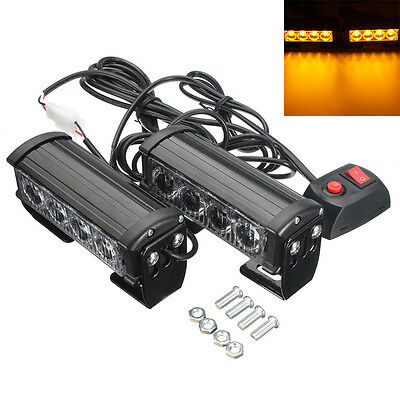2x 12V 4 LED Amber Strobe Car Truck Flashing Emergency Grille Bright Bar Light