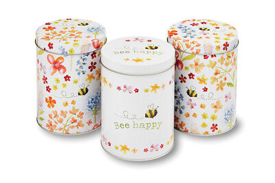 Cooksmart Bee Happy Set of 3 Storage Tins Tea Coffee Sugar Storage Organiser Set