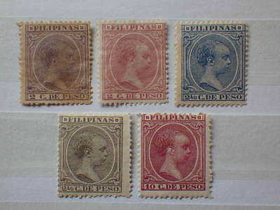 5x Timbres Stamps Neufs * Unused * PHILIPPINES FILIPINAS 1890-1897 ALFONSO XIII