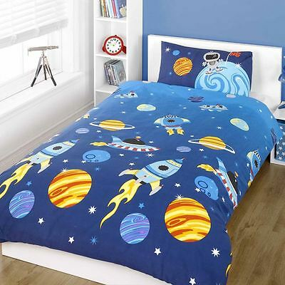 Rocket Junior Duvet Cover Set Space Planets Stars Kids Bedding New