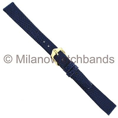 12mm Hirsch Rainbow Navy Blue Genuine Leather Lizard Grain Unstitched Watch Band