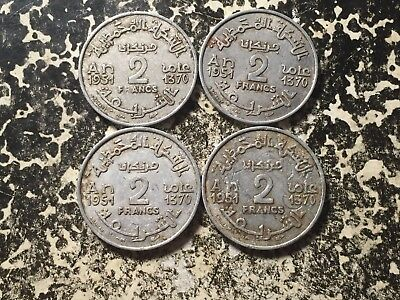 AH 1370 1951 Morocco 2 Francs (4 Available) Circulated (1 Coin Only)