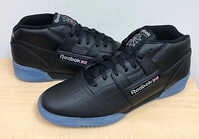 304c82306f1 MENS REEBOK CLASSIC WORKOUT MID CLEAN B Black Steel Red -BS7447- ATHLETIC