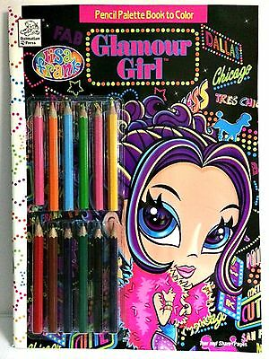 Lisa Frank Glamour Girl Pencil Palette Coloring Book W 12 Colored Pencils