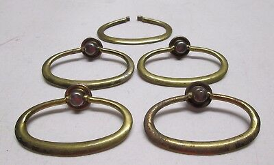 Vintage Set 4 Brass Drawer Handle Pulls Hardware with Extra Ring