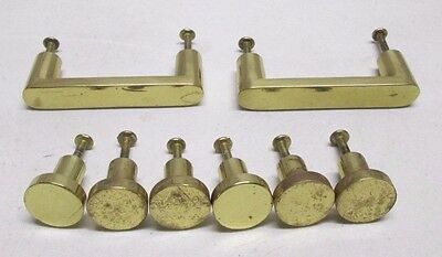 Vintage Lot of 8 Gold Drawer Handle Pulls Knobs Hardware Cabinet Dresser Solid