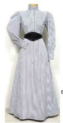 FRONTIER CLASSICS Black / White Stripe VICTORIAN WALKING SKIRT Steampunk Dickens