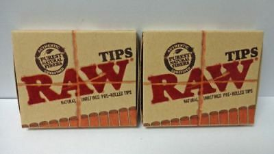 RAW PRE ROLLED Natural Cigarette Filter Paper Tips (2 Packs) **Free Shipping**