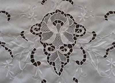 Vintage White Linen Point Venise Needle Lace Tablecloth Hand Embroidered 95""