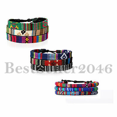 3PCS Leather Surfer Bracelet for Men Women Braided Rope Beaded Wristband