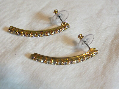 """Collectible Post Pierced Earrings Gold Tone Clear Rhinestones 1 3/8"""" Long WOW"""