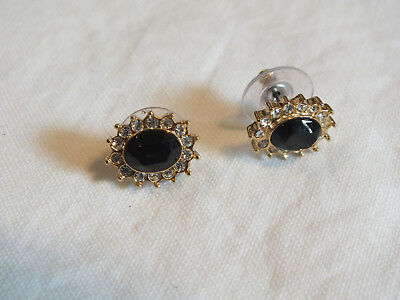 """Collectible Post Pierced Earrings Gold Tone Clear Black Rhinestones 1/2"""" WOW"""