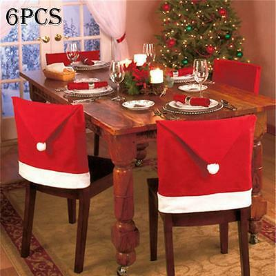 6pcs New Red Christmas Hat Chair Covers Santa Claus Table Back Decor 60X50CM ku