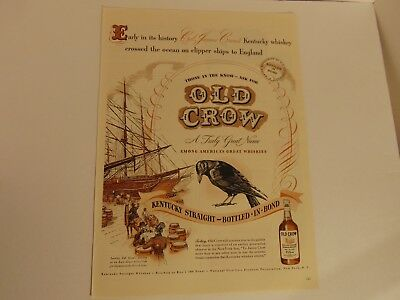 1947-OLD CROW Kentucy Straight Whiskey-vintage print ad- 326
