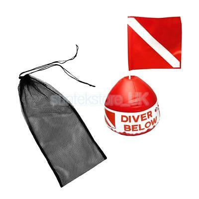 Large Durable Diving Fin Shoes Mesh Bag + Scuba Flag with Inflatable Buoy