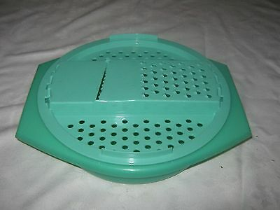 A Vintage TUPPERWARE Jadite Green Cheese Veggie Grater Shredder Bowl