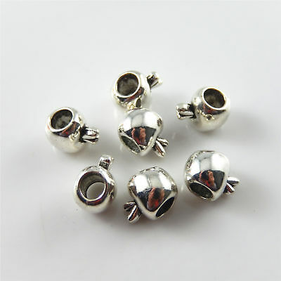 4mm Hole Mini Vintage Silver Alloy Apple Shape Beads Jewelry Making Findings 48x