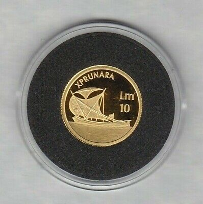 Malta 2002 Gold 10 Pounds Ship In Mint Condition + Capsule & Certificate