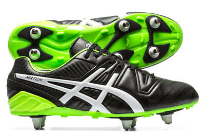Asics Match ST Black Flash Green 151721 9077 Rugby Boots Size UK  7 8 9 10 11 12
