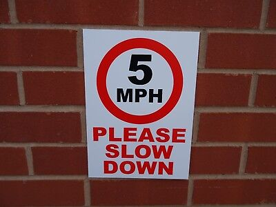 Speed Restriction Signs - 5MPH Please Slow Down Sign, Sticker or Metal