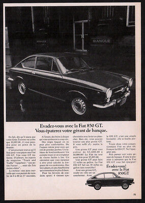 1967 FIAT 850 GT Vintage Original Print AD - Black car photo coupe 2-door canada