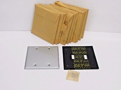 NOS! LOT of (11) 2-GANG MILL FINISH BLANK COVER PLATES, WITH GASKET