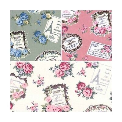 100% Cotton Poplin Fabric Rose & Hubble Vintage French Floral Photo Frames