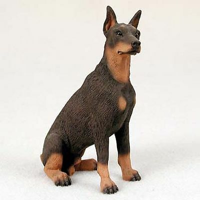 Doberman Pinscher Red Cropped Dog Hand Painted Collectable Figurine Statue