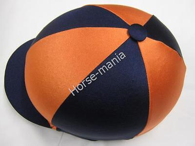 Navy Blue & Orange Riding Hat Silk Cover For Jockey Skull Caps One Size