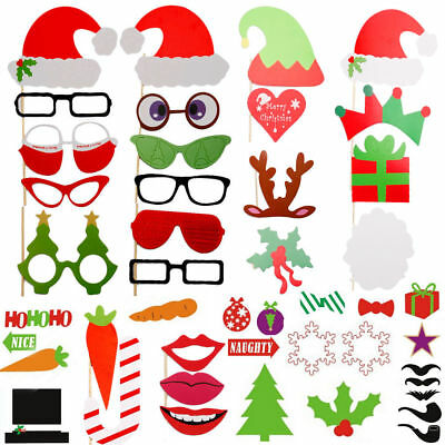 UK 50Pcs Xmas Wedding Party Photo Booth Props on A Stick Masks Moustache Glasses